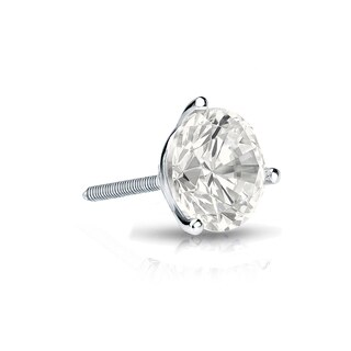 Auriya 14k Gold 1/3ct TDW Round-Cut Diamond 3-Prong Screw-Back Single Stud Earring (I-J, I1-I2)