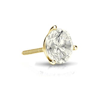 Auriya 14k Gold 1/2ct TDW Round-Cut Diamond 3-Prong Screw-Back Single Stud Earring (J-K, I2-I3)
