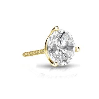 Auriya 14k Gold 1/2ct TDW Round-Cut Diamond 3-Prong Screw-Back Single Stud Earring (I-J, SI2-SI3)
