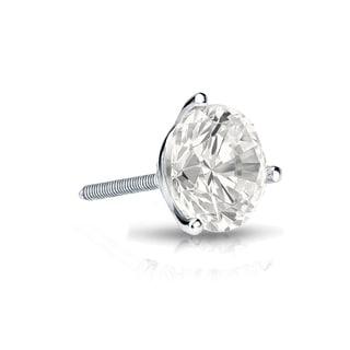 Auriya 14k Gold 1/2ct TDW Round-Cut Diamond 3-Prong Screw-Back Single Stud Earring (I-J, I1-I2)