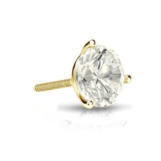 Auriya 14k Gold 3/4ct TDW Round-Cut Diamond 3-Prong Screw-Back Single Stud Earring (J-K, I2-I3)