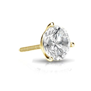 Auriya 14k Gold 3/4ct TDW Round-Cut Diamond 3-Prong Screw-Back Single Stud Earring (I-J, SI2-SI3)
