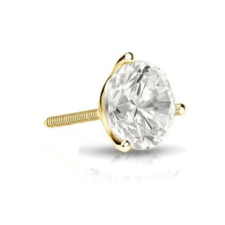 Auriya 14k Gold 1ct TDW Round-Cut Diamond 3-Prong Screw-Back Single Stud Earring (I-J, I1-I2)