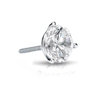 Auriya 14k Gold 1ct TDW Round-Cut Diamond 3-Prong Screw-Back Single Stud Earring (H-I, SI1-SI2)