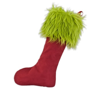 Passion Suede Cinnabar - Shag Fur Green 11x19 Lined Stocking with Red Ribbon Tab