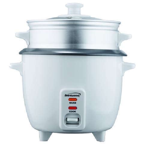 Brentwood TS-380S White 10-cup Rice Cooker with Steamer