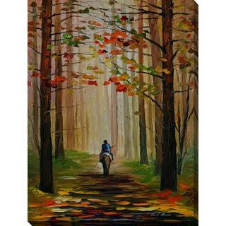 Leonid Afremov 'Autumn Stroll On A Horse' Giclee Print Canvas Wall Art