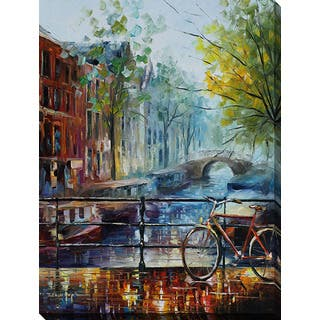 Leonid Afremov 'Bicycle In Amsterdam' Giclee Print Canvas Wall Art