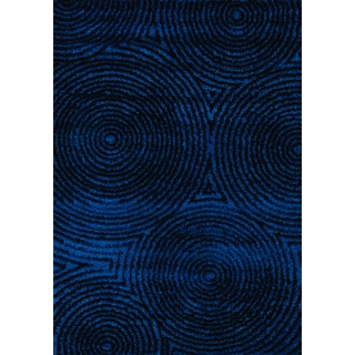 Bristol Radical Black/ Blue Circles in Glitz Low Pile Shag Rug (7'10 x 10'10)