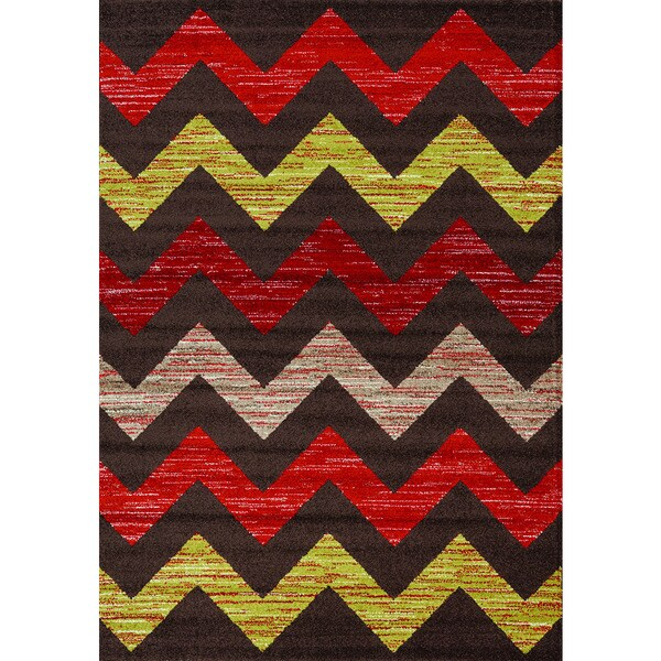 Camilla Brown/ Red/ Green Chevron Rug (3'11 x 5'7)