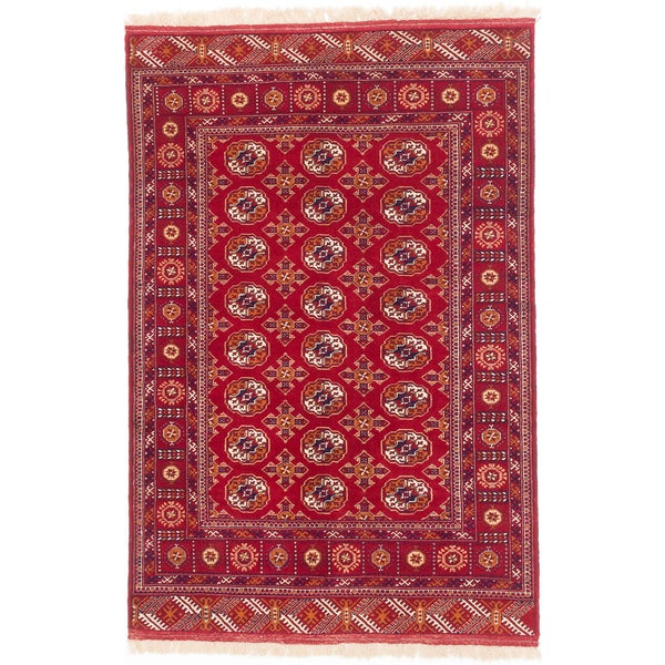 Ecarpetgallery Hand-knotted Shiravan Bokhara Red Wool Rug (4'7 x 6'10)