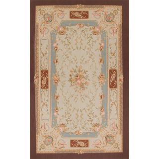Ecarpetgallery Hand-knotted French Tapestry Beige/ Blue Wool Sumak Rug (5'1 x 8'4)