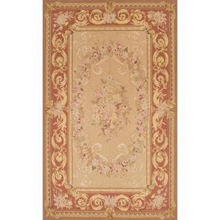 Ecarpetgallery Hand-knotted French Tapestry Beige Wool Sumak Rug (4'11 x 8'1)
