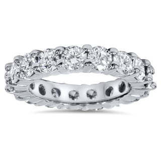 Bliss 14k White Gold 4ct TDW Diamond Eternity Wedding Band