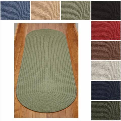 Rhody Rug Woolux Wool Runner Braided Rug (2' x 8') - 2' x 8' Runner