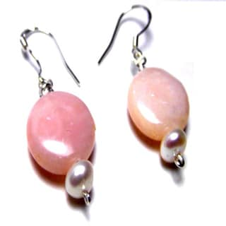 Pink Peruvian Opal Pearl Sterling Silver Earrings
