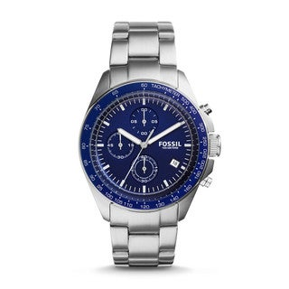 Fossil Men's CH3030 Sport 54 Chronograph Blue Dial Silver-Tone Stainless Steel Bracelet Watch