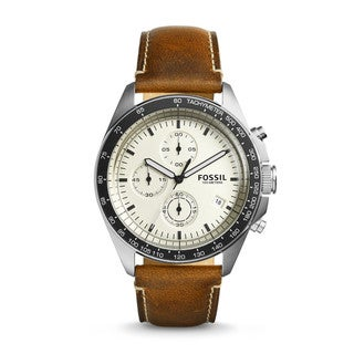 Fossil Men's CH3023 Sport 54 Chronograph Beige Dial Brown Leather Watch
