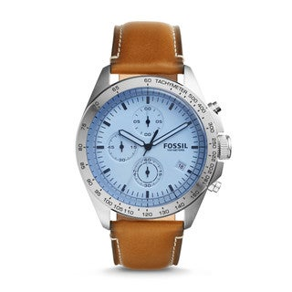Fossil Men's CH3022 Sport 54 Chronograph White Dial Brown Leather Watch