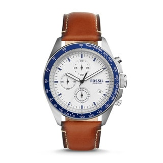 Fossil Men's CH3029 Sport 54 Chronograph White Dial Brown Leather Watch