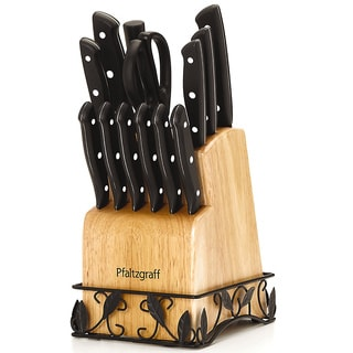 Pfaltzgraff 14 Pc Stamped Triple Riveted Set With Natural Finish Block