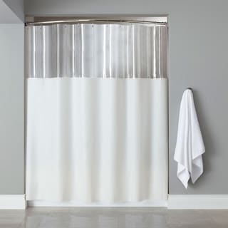 Extra Long Mildew-Resistant Clear/ White Shower Curtain