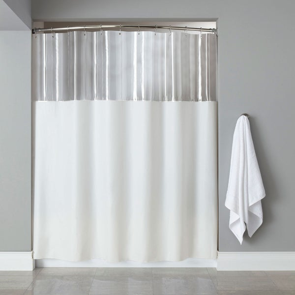 Extra Long Mildew-Resistant Clear/ White Shower Curtain - Free ...