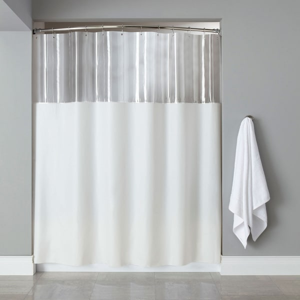 white shower curtain. Extra Long Mildew-Resistant Clear/ White Shower Curtain