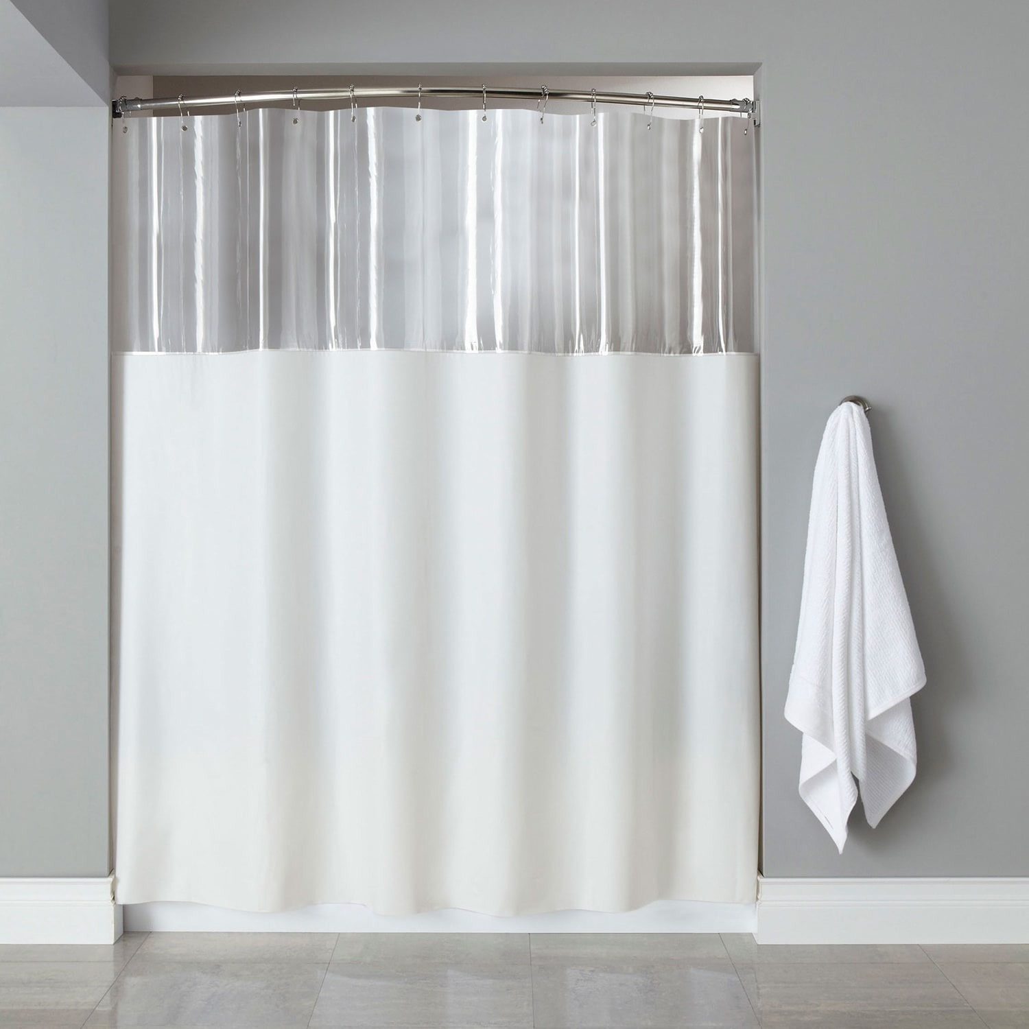 Extra Long Mildew Resistant Clear/ White Shower Curtain (.