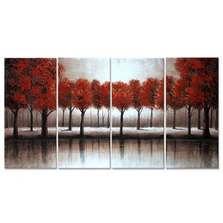 Hand-painted 'Red Trees' 4-piece Forest Art 1229