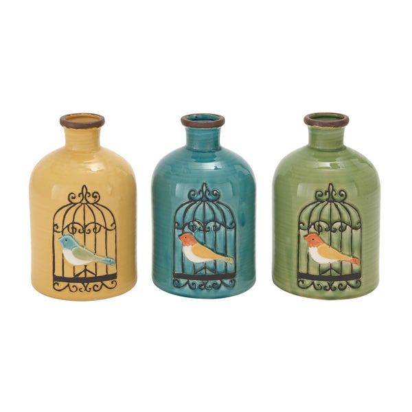 The Curated Nomad Grenfall Modern Bird Cage Ceramic Jug Vase