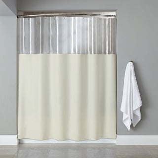 Extra Long Antibacterial Clear/ Ivory Shower Curtain