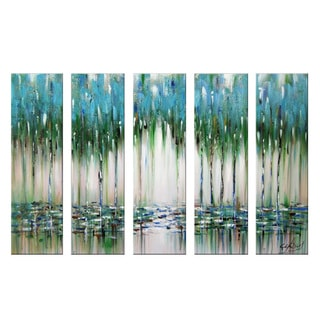 Hand-painted Overlook Abstract Blue/ Green 5-panel Painting 1144