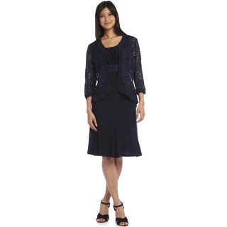 R&M Richards Women's Blue Lace Ruffle Jacket Dress