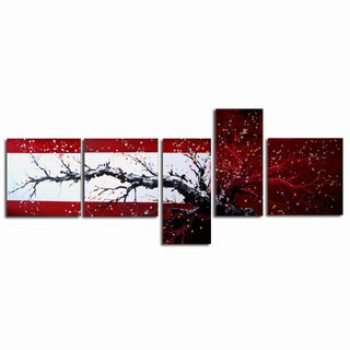 Large Hand-painted Red and Black Tree with Flowers 5-panel Wall Art
