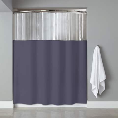 72-inch Antibacterial Mildew-Resistant Clear/ Slate Shower Curtain