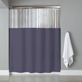 72-inch Antibacterial Mildew-Resistant Clear/ Slate Shower Curtain