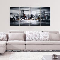 Hand-painted 'Sleeping City' Cityscape 4-panel Wall Art 1135