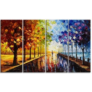 Hand-painted Landscape Trees 'A Walk Through Color' 48x28'' 4-panel Wall Art