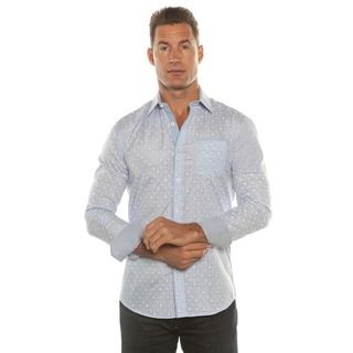 Isaac B. Men's Blue Pattern Long Sleeve Button Down Dress Shirt