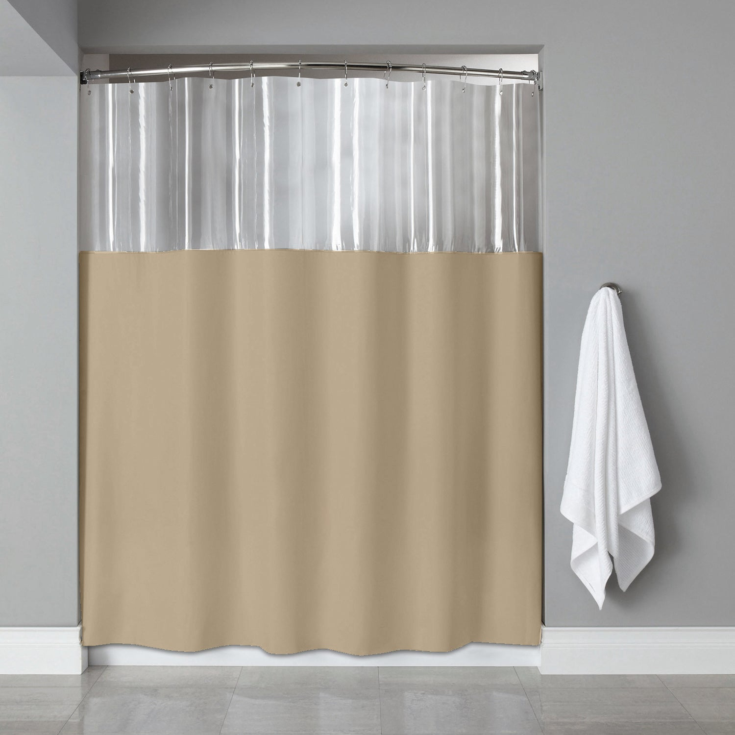 72 Inch Antibacterial Clear Linen Shower Curtain