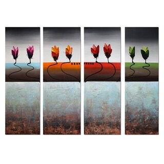 Hand-painted Abstract Multi-Color Flowers 4-panel Wall Art 1192