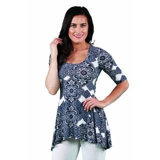 24/7 Comfort Apparel Women's Blue Chateau Printed Tunic