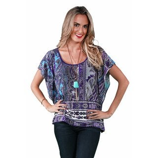 24/7 Comfort Apparel Women's Purple Paisley Oversized Tee