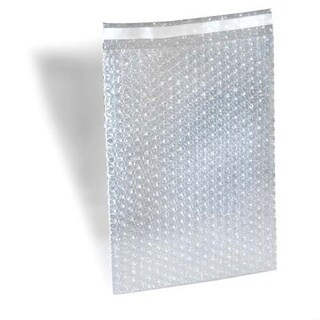 300 8 X 15.5 inch Bubble Out Bags with 1-inch Lip and Tape Self Seal Bubble Pouches