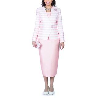 Giovanna Collection Women's 2-piece Stripe Skirt Suit