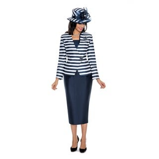 Giovanna Collection Women's 2-piece Stripe Skirt Suit