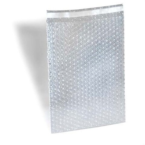 1400 8 X 11.5 inch Bubble Out Bags with 1-inch Lip and Tape Self Seal Bubble Pouches