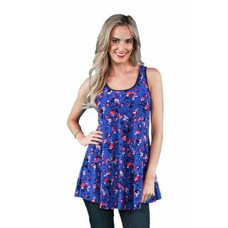 24/7 Comfort Apparel Women's Blue-Pink Rose Tank Top