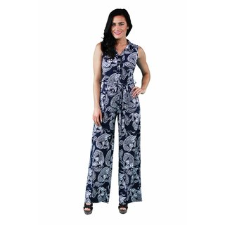 24/7 Comfort Apparel Women's Navy Paisley Sleeveless Jumpsuit